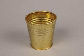 A066E6 Gold zinc planter D7cm H7cm