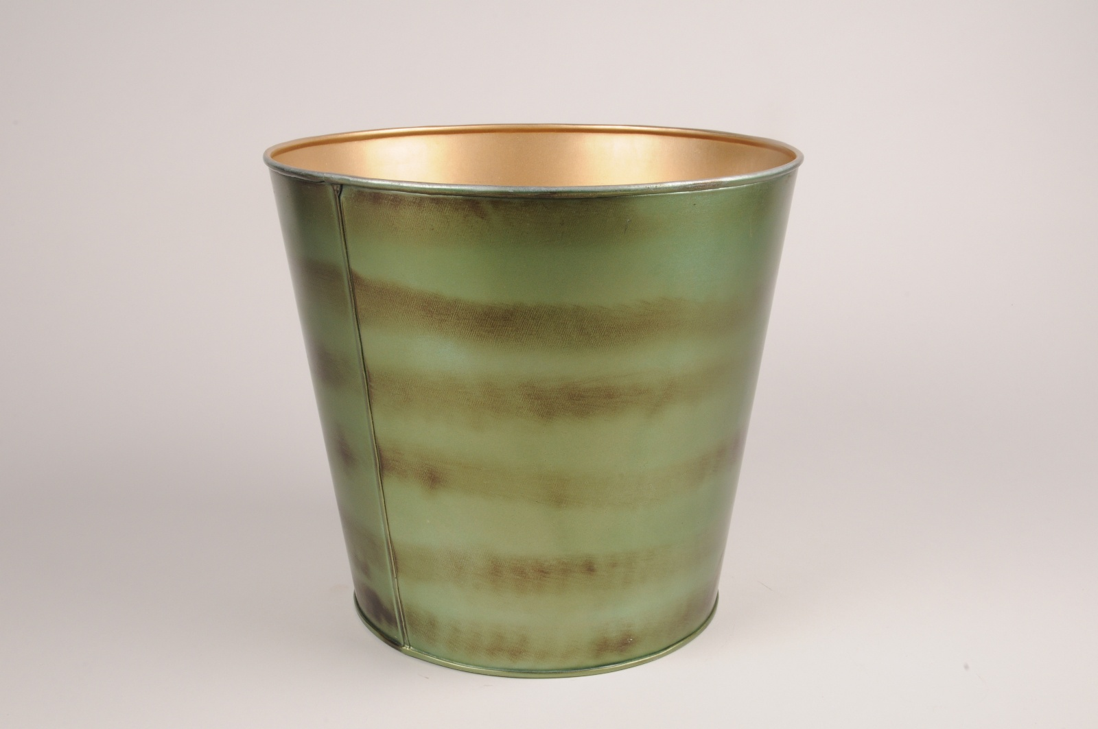 A066JY Cache-pot en métal vert D18cm H17cm