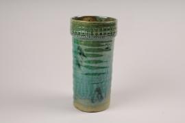 A066LE Vase en céramique vert D11cm H25cm
