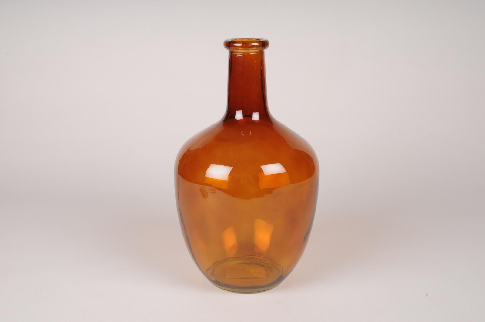 A066NH Vase bouteille en verre ambre D17cm H30cm
