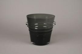 A066W3 Seau à champagne en verre gris D20cm H20cm