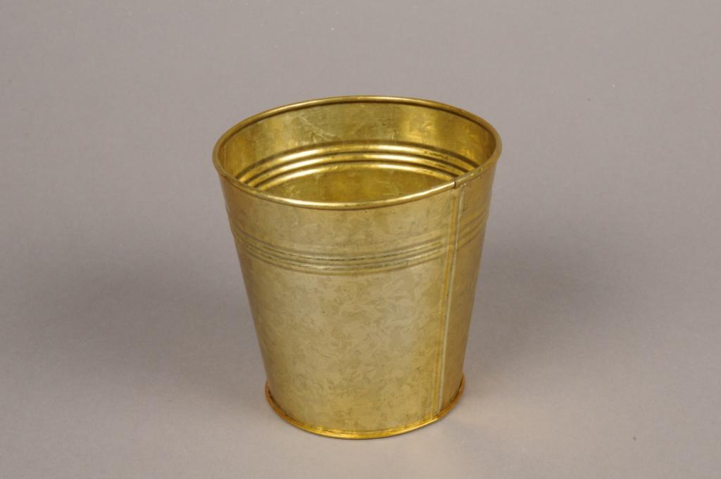 A067E6 Cache-pot en zinc or D9cm H8.5cm
