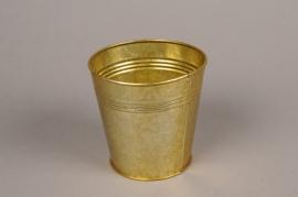 A067E6 Gold zinc planter D9cm H8.5cm
