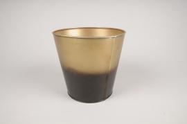 A067JY Cache-pot en métal or noir D18cm H17cm