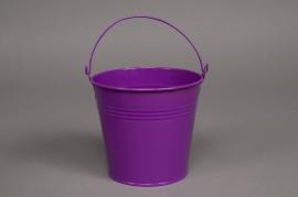A067KM Seau en zinc violet  D11cm H10cm