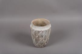 A067M6 Vase en terre cuite gris D17.5cm H22.5cm