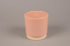 A067T3 Cache-pot en céramique rose D13cm H13.5cm