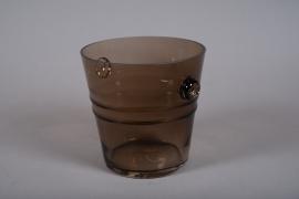 A067W3 Seau à champagne en verre marron D20cm H20cm