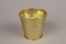 A068E6 Gold zinc planter D11cm H11cm