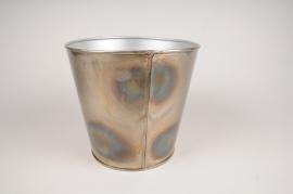 A068JY Cache-pot en métal oxydé D23cm H21cm