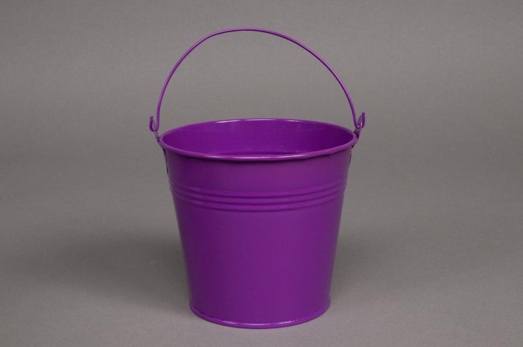 A068KM Bucket zinc purple  D13cm H12cm
