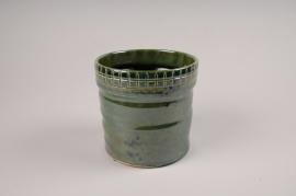 A068LE Cache-pot en céramique vert D14cm H15cm