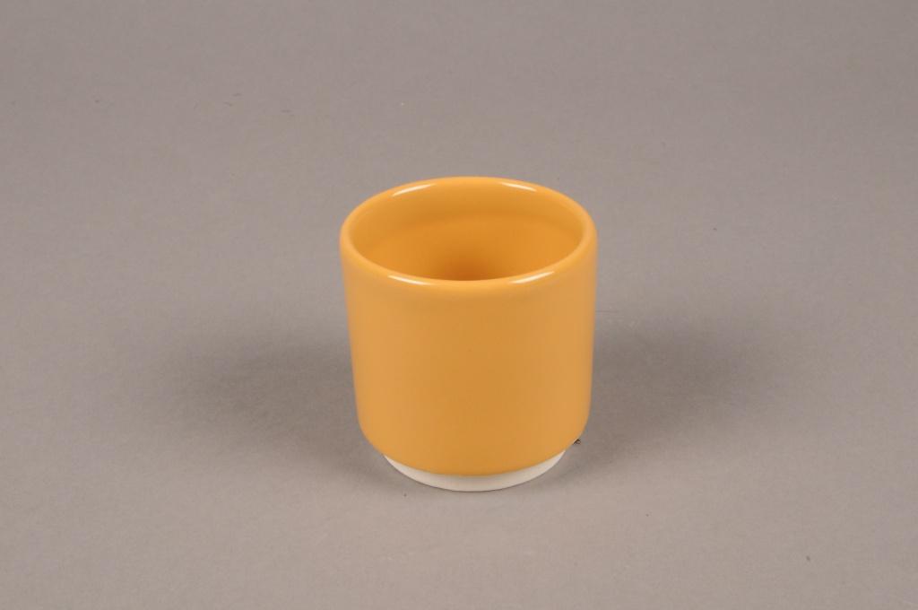 A068T3 Cache-pot en céramique jaune D7cm H7cm
