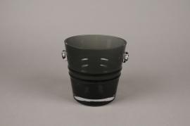 A068W3 Grey glass champagne bucket D16cm H16cm