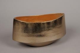 A069BV Gold brushed metal bowl 26x13cm H15cm