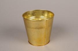 A069E6 Cache-pot en zinc or D13cm H12.5cm