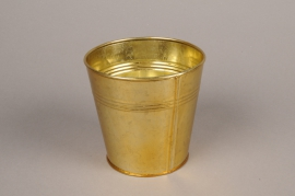 A069E6 Gold zinc planter D13cm H12.5cm