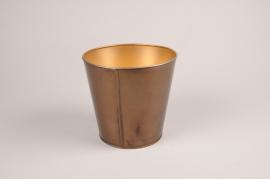 A069JY Gold metal planter D23cm H21cm
