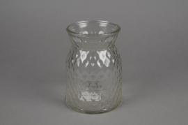 A069R4 Vase en verre motif diamant D12cm H16cm