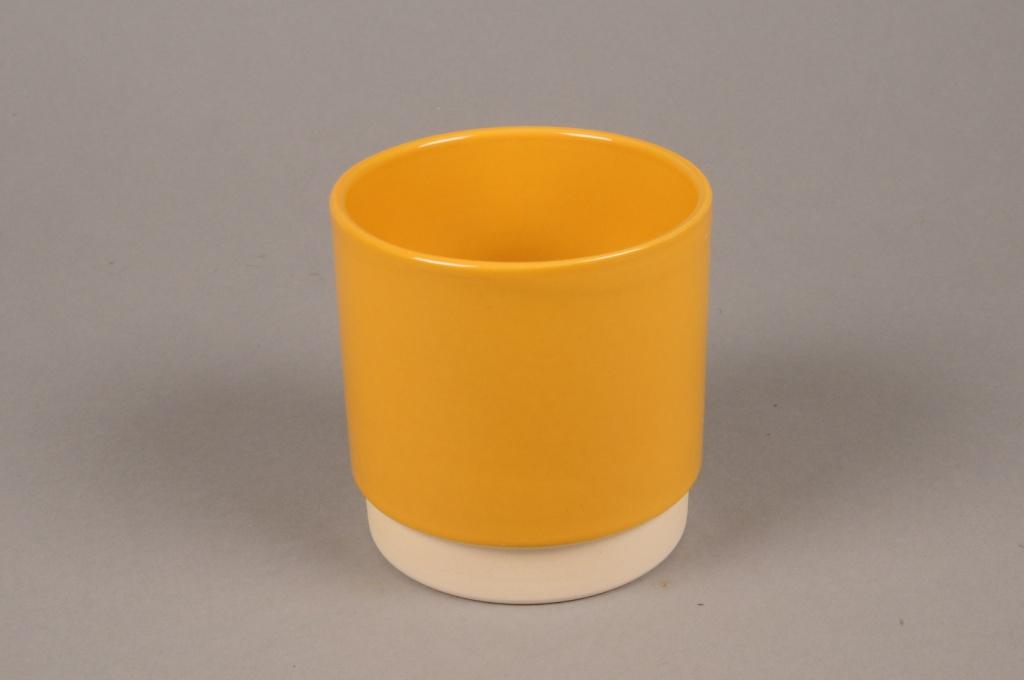 A069T3 Cache-pot en céramique jaune D11.5cm H11cm