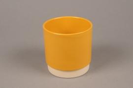 A069T3 Yellow ceramic planter pot  D11.5cm H11cm