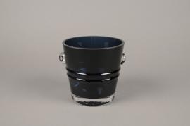 A069W3 Seau à champagne en verre bleu D16cm H16cm