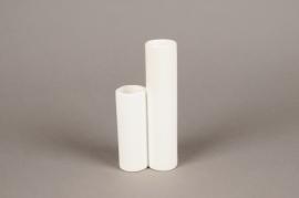 A069WV Vase 2 tubes en céramique blanc D8cm H17cm