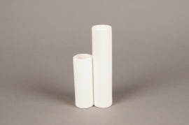 A069WV White ceramic double tube vase D8cm H17cm