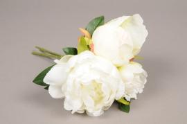 a070nn Bouquet de 3 pivoines artificielle blanche H22cm