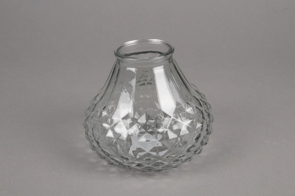 A070R4 Vase en verre motif diamant D13cm H11cm