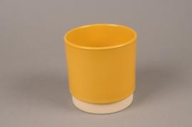 A070T3 Yellow ceramic planter pot D13cm H13.5cm