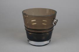 A070W3 Seau à champagne en verre marron D16cm H16cm