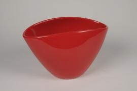 A071A8 Jardinière en céramique rouge 28x16cm H17.5cm