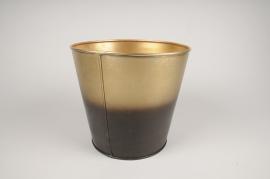 A071JY Cache-pot en métal or noir D22cm H21cm
