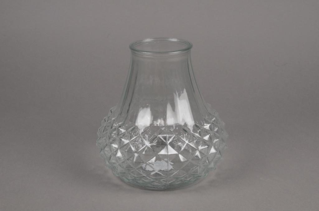 A071R4 Vase en verre motif diamant D13cm H11cm