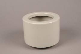 A071T3 Cache-pot en céramique gris D17cm H12.5cm