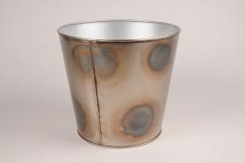 A072JY Cache-pot en métal gris tâche noir D18cm H17cm