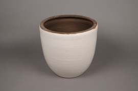 A072LE White planter ceramic D26cm H27.5cm
