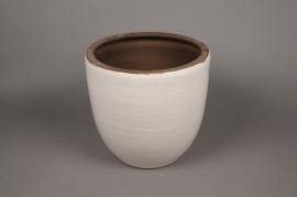 A072LE Cache-pot céramique blanc D26cm H27.5cm