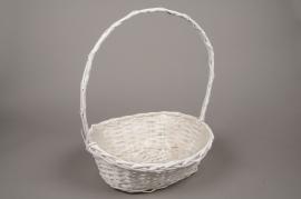 A072MZ White wicker basket 37x31cm H46cm