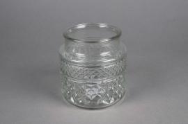 A072R4 Vase en verre motif diamant D12cm H13cm