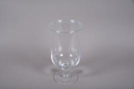 A072W3 Vase en verre sur pied D20cm H36cm