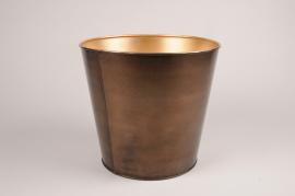 A073JY Gold metal planter D27cm H25cm
