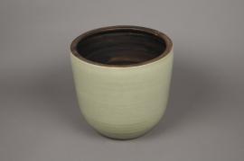 A073LE Cache-pot céramique vert D26cm H27.5cm