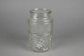 A073R4 Vase en verre motif diamant D12cm H19cm