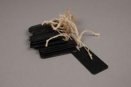 A073U7 Paquet de 10 étiquettes en bois noir 4x8cm