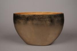 A074BV Gold metal vase 40x16cm H26.5cm