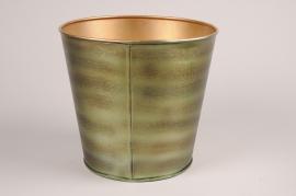 A074JY Cache-pot en métal vert D27cm H25cm