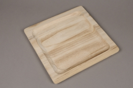 A075HX Plateau en bois carré 24 x 24cm H1.6cm