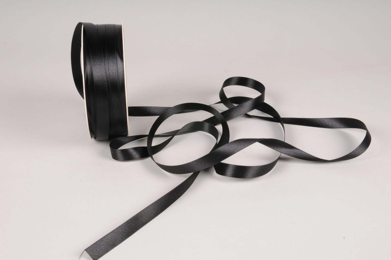 A075UN Ruban satin noir 12mm x 100m